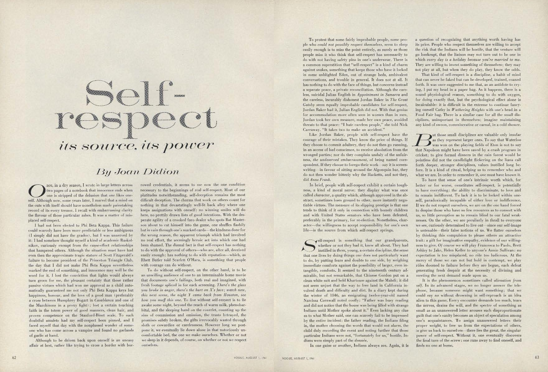 essay on self respect on selfrespect joan didionsessay from the on self respect joan didion s essay from the pages of vogue on self respect joan